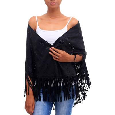 Patterned Leather Shawl in Onyx from Bali