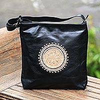 Leather tote, 'Lotus Carrier in Black' - Lotus Flower Leather Tote in Black from Bali