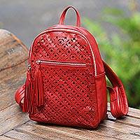 Leather backpack, 'Truntum Pattern' - Truntum Pattern Leather Backpack in Crimson from Bali