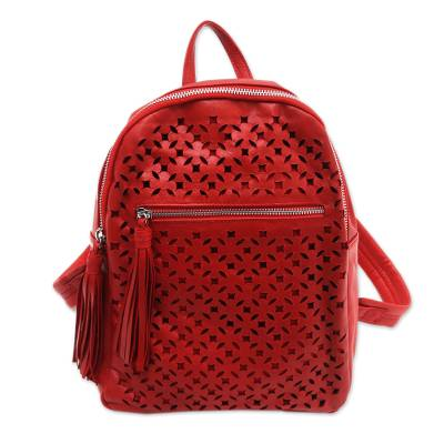 Truntum Pattern Leather Backpack in Crimson from Bali