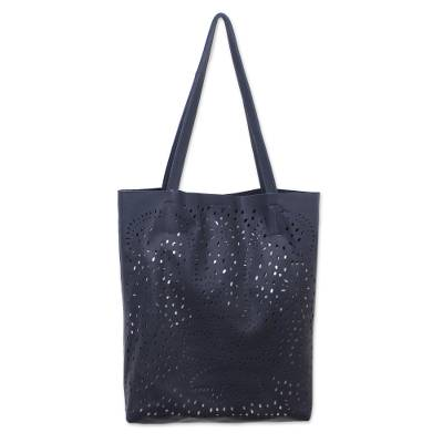 Floral Openwork Leather Shoulder Bag in Graphite from Bali