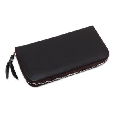 Solid Leather Clutch in Espresso Crafted in Bali