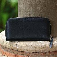 Leather clutch, 'Polosan Black' - Solid Leather Clutch in Black Crafted in Bali
