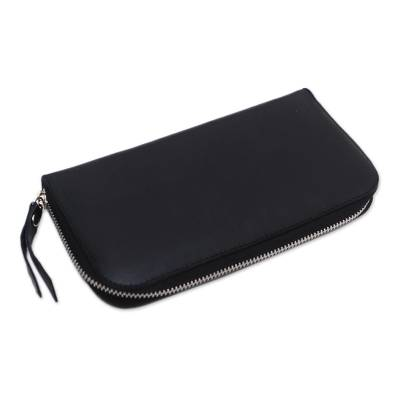 Solid Leather Clutch in Black Crafted in Bali