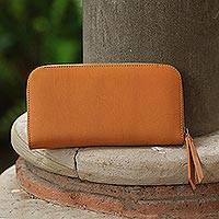 Leather clutch, 'Polosan Sunrise' - Solid Leather Clutch in Sunrise Crafted in Bali