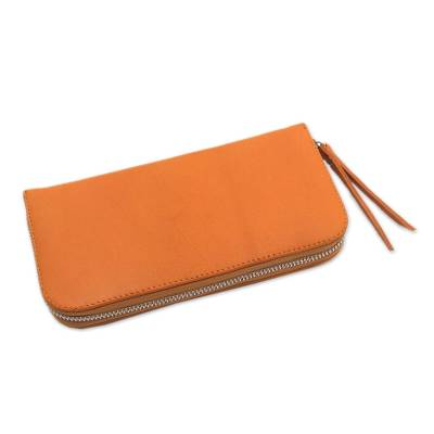 Solid Leather Clutch in Sunrise Crafted in Bali