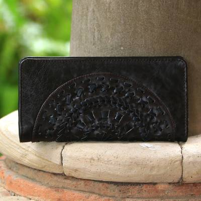 Leather clutch, 'Wulan Espresso' - Circle Pattern Leather Clutch in Espresso from Bali