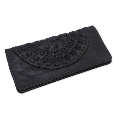 Circle Pattern Leather Clutch in Espresso from Bali