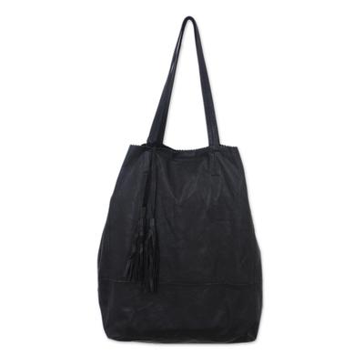 Leather tote, 'Jogja Shopper in Black' - Handmade Leather Tote Handbag in Black from Bali