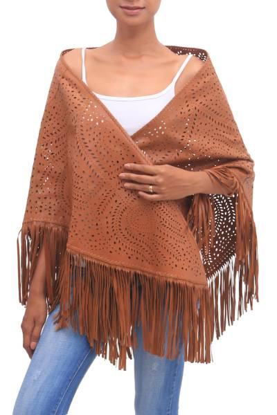 Patterned Leather Shawl in Ginger from Bali