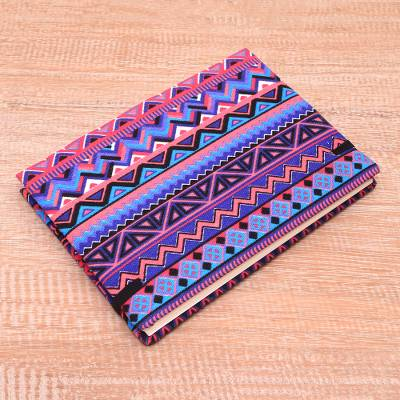 Cotton journal, 'Tribal Purple' (8 inch) - Purple Cotton Journal from Java (8 in.)