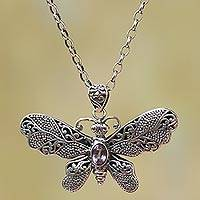 Amethyst pendant necklace, 'Elaborate Butterfly'