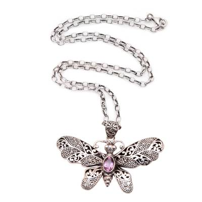 Amethyst pendant necklace, 'Elaborate Butterfly' - Amethyst and Sterling Silver Butterfly Pendant Necklace