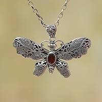 Garnet pendant necklace, 'Elaborate Butterfly'