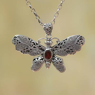 Garnet pendant necklace, 'Elaborate Butterfly' - Garnet and Sterling Silver Butterfly Pendant Necklace