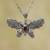 Garnet pendant necklace, 'Elaborate Butterfly' - Garnet and Sterling Silver Butterfly Pendant Necklace (image 2) thumbail