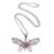 Garnet pendant necklace, 'Elaborate Butterfly' - Garnet and Sterling Silver Butterfly Pendant Necklace (image 2a) thumbail