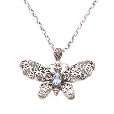Blue topaz pendant necklace, 'Elaborate Butterfly' - Blue Topaz and Sterling Silver Butterfly Pendant Necklace