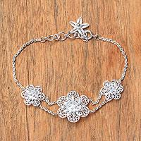Sterling silver filigree pendant bracelet,
