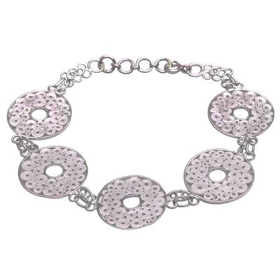 Circle Pattern Sterling Silver Filigree Link Bracelet