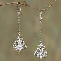 Featured review for Sterling silver filigree dangle earrings, Flower Rain