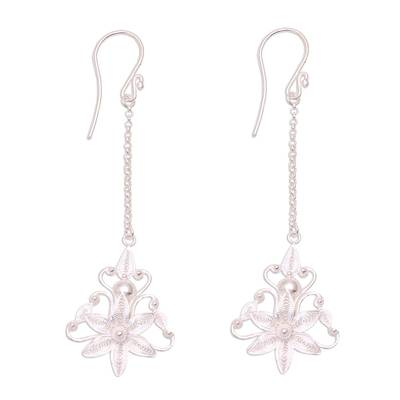 Floral Sterling Silver Filigree Dangle Earrings from Java