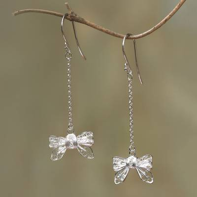 Bow Shaped Sterling Silver Filigree Dangle Earrings Hy Bows