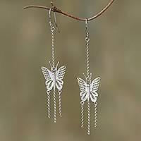 Sterling silver filigree dangle earrings, 'Butterfly Rain' - Sterling Silver Filigree Butterfly Dangle Earrings from Java