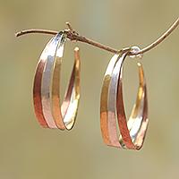 Gold accent sterling silver half-hoop earrings,