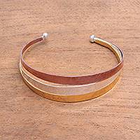 Gold accent sterling silver cuff bracelet, 'Metallic Rainbow' - Gold Accent Sterling Silver Cuff Bracelet from Bali