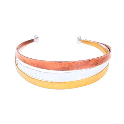 Gold Accent Sterling Silver Cuff Bracelet from Bali
