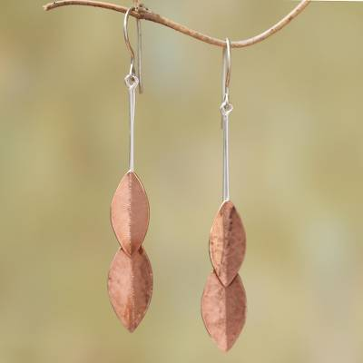 Rose gold accented sterling silver dangle earrings, 'Feminine Leaves' - Rose Gold Accent Sterling Silver Leaf Dangle Earrings