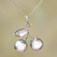 Sterling silver pendant necklace, 'Bali Berries' - Sterling Silver Berry Pendant Necklace Crafted in Bali