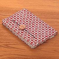 Batik cotton journal, 'Thoughtful Archer' - Red and White Cotton Cover Journal with Recycled Paper Pages