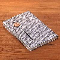 Batik cotton journal, 'Archer Scribe' - Blue-Grey and White Cotton Cover Journal with Recycled Paper