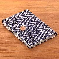 Batik cotton journal, 'Archer Energy' - Navy and White Cotton Cover Journal Recycled Paper Pages