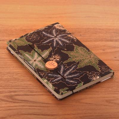 Batik cotton journal, 'Archer in the Forest' - Green-Brown Floral Motif Cotton Cover Journal Recycled Paper