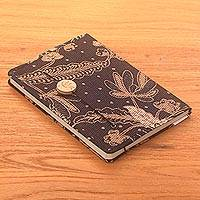 Batik cotton journal, 'Archer in the Meadow' - Brown-Black Floral Motif Cotton Cover Journal Recycled Paper