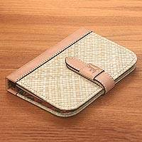Leather accent natural fiber journal, 'Archer's Mark' - Beige Woven Pandanus Leaf Six-Ring Binder for Journal