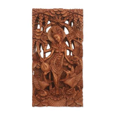 Wood relief panel, 'Sarasvati' - Suar Wood Relief Panel of Hindu God Saraswati from Indonesia