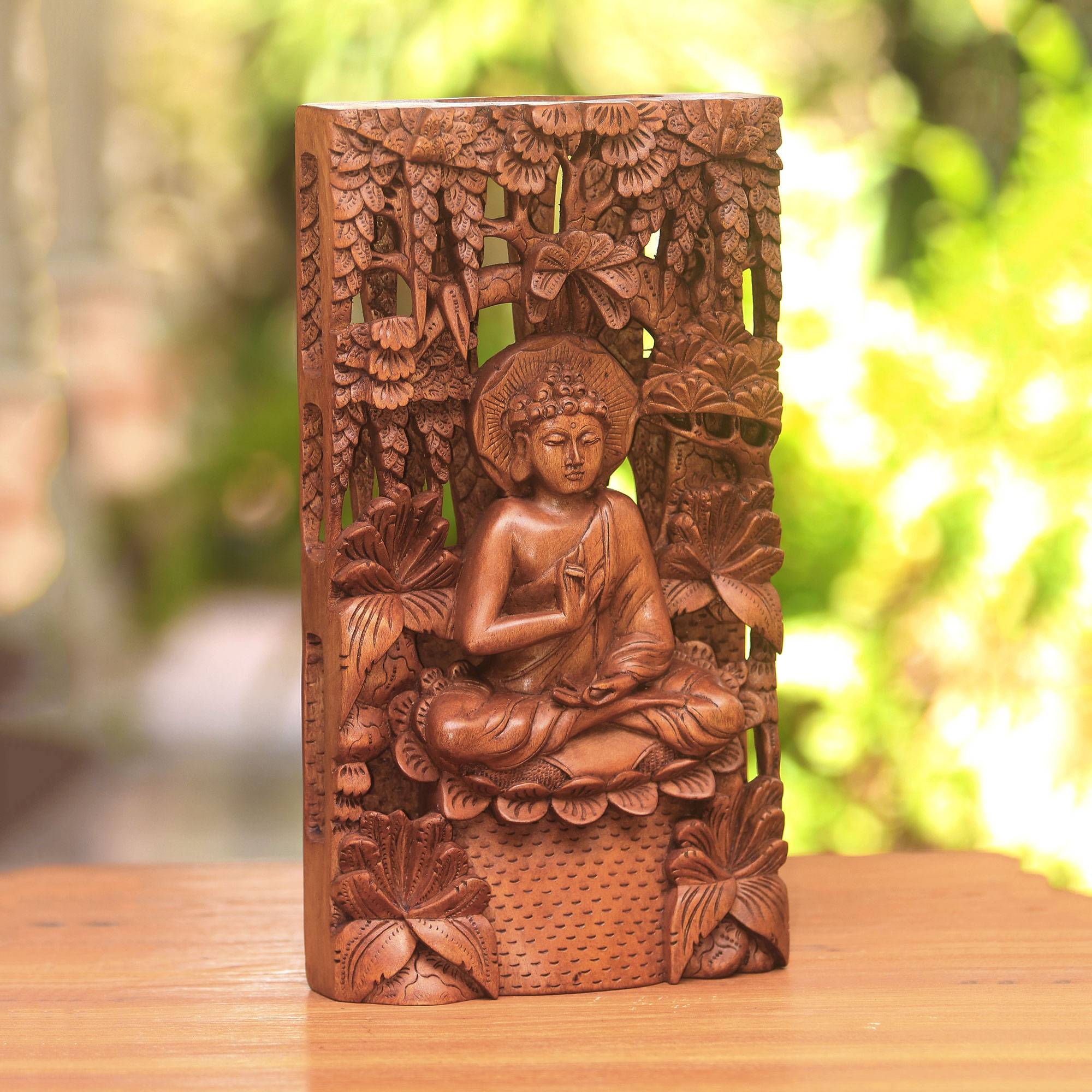 Hand carved suar wood relief panel of buddha praying buddha in