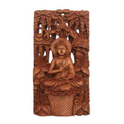 Wood relief panel, 'Buddha in Nature' - Hand-Carved Suar Wood Relief Panel of Buddha Praying