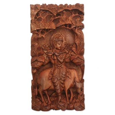 Wood relief panel, 'Krishna and Cow' - Suar Wood Relief Panel of the Hindu God Krishna