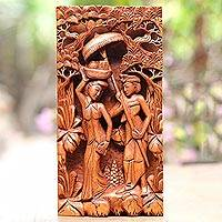 Wood relief panel, 'Bali's Culture'
