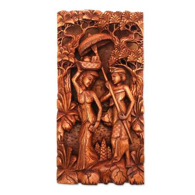 Wood relief panel, 'Bali's Culture' - Hand-Carved Suar Wood Relief Panel of Balinese People