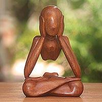Wood sculpture, 'Wondering' - Abstract Suar Wood Sculpture of a Person from Indonesia