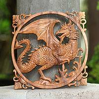 Wood relief panel, 'Mighty Dragon' - Hand-Carved Suar Wood Relief Panel of a Dragon from Bali