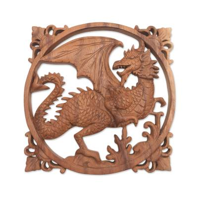 Hand-Carved Suar Wood Relief Panel of a Dragon from Bali