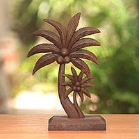 Wood statuette, 'Coconut Trees'