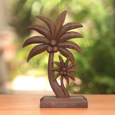 Wood statuette, 'Coconut Trees' - Hand-Carved Wood Coconut Tree Statuette from Bali